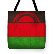 Malawi Flag Vintage Distressed Finish Tote Bag