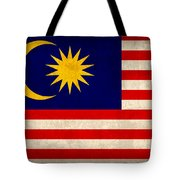 Malaysia Flag Vintage Distressed Finish Tote Bag