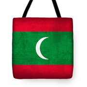 Maldives Flag Vintage Distressed Finish Tote Bag