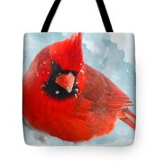 Male Cardinal On Snow Day - Dgital Paint Tote Bag