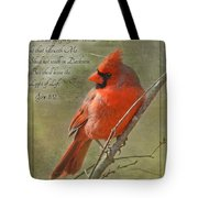 Male Cardinal On Twigs With Bible Verse Tote Bag