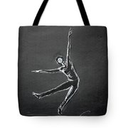 Male Dancer In White Lines On Black Tote Bag