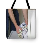 Male Doing Laundry Tote Bag