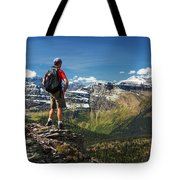 Male Hiker Standing On Top Of Mountain Tote Bag