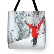 Male Skier Throws His Hands Tote Bag