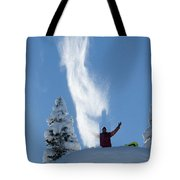 Male Snowboarder Throwing Powder Tote Bag
