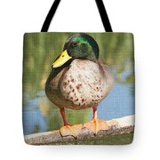 Mallard Duck On Log Tote Bag