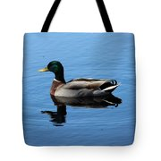 Mallard Duck With Reflection On The Water Tote Bag