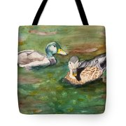 Mallard Ducks With Spawning Salmon Tote Bag