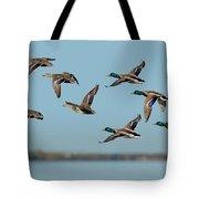 Mallard Flock Flying Tote Bag