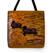 Mallards On Golden Water Tote Bag
