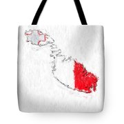 Malta Painted Flag Map Tote Bag