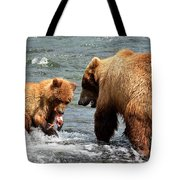 Mama And Baby Grizzly Bear At The Falls Tote Bag