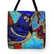 Mama Bird Feeding Baby Bird Tote Bag