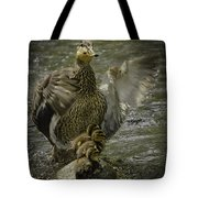 Mama Duck Protecting Her Babies Tote Bag