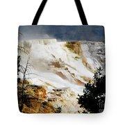 Mammoth Springs Yellowstone Steam Rising Tote Bag