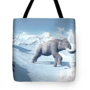 Mammoths Walking Slowly On The Snowy Tote Bag