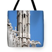 Man And Dragon Gargoyles With Tower Duomo Di Milano Italia Tote Bag