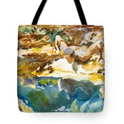Man And Pool. Florida Tote Bag
