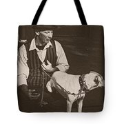 Man And White Dog In New Orleans Tote Bag