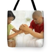 Man And Wife Pray Tote Bag
