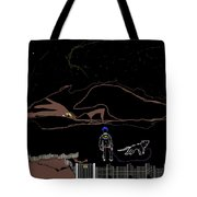 Man With Best Friend Under Stars  Tote Bag