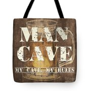 Man Cave My Cave My Rules Tote Bag by Debbie DeWitt