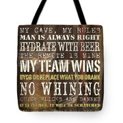 Man Cave Rules 2 Tote Bag