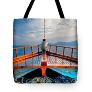 Man Day-deaming On Traditional Greek Ship Tote Bag