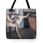 Man Drying His Leg  Tote Bag