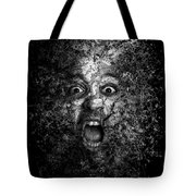 Man Eyes Face Horror Portrait Black And White  Tote Bag