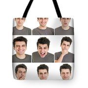 Man Face Expressions Tote Bag
