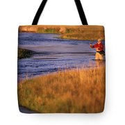 Man Fly Fishing On The Owens River Tote Bag