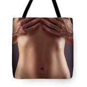 Man Hands Covering Nude Woman Breasts Tote Bag