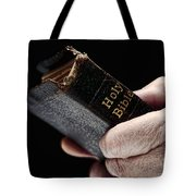 Man Hands Holding Old Bible Tote Bag