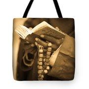 Man Holding Prayer Book Ethiopia Tote Bag