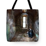 Man In Abandoned Building Tote Bag
