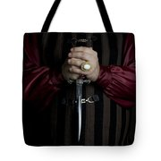 Man In Baroque Outfits Holding A Silver Dagger Tote Bag