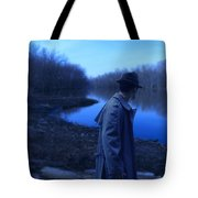 Man In Fedora By River Tote Bag
