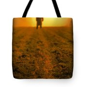 Man In Field At Sunset Tote Bag