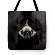 Man In The Hooded Cloak Holding Burning Human Skull In His Hand Tote Bag