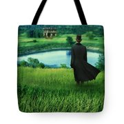 Man In Top Hat On A Hill Tote Bag