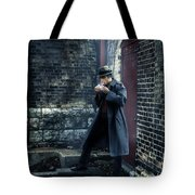 Man In Trenchcoat Lighting A Cigarette Tote Bag