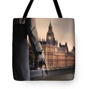 Man In Trenchcoat With A Gun In London Tote Bag