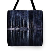 Man In Woods By River Tote Bag