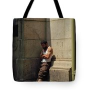Man Leaning Against Wall In Sun Tote Bag