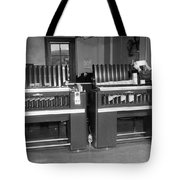 Man Loading Punch Cards Tote Bag