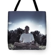 Man Meditating In The Nature During Sunrise Tote Bag