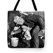 Man Milking Cow Tote Bag
