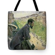Man On A Balcony Tote Bag by Gustave Caillebotte